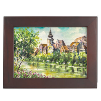Spring in small city on the river keepsake boxes