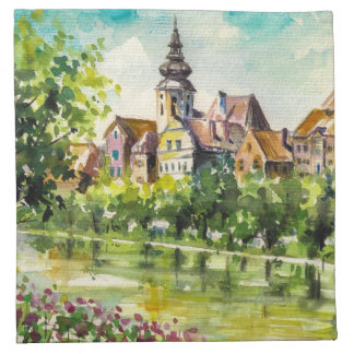 Spring in small city on the river napkin