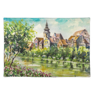 Spring in small city on the river placemat