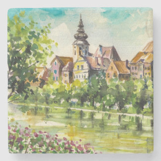 Spring in small city on the river stone coaster