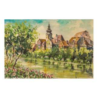 Spring in small city on the river wood print