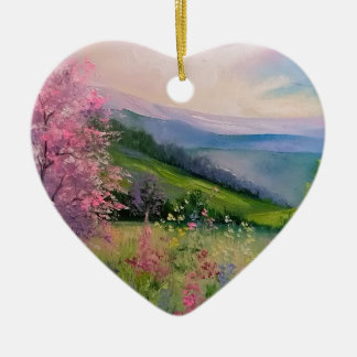 Spring in the Carpathians Ceramic Heart Decoration