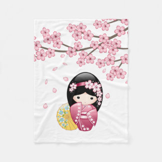 Spring Kokeshi Doll - Cute Japanese Geisha Girl Fleece Blanket