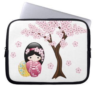 Spring Kokeshi Doll - Cute Japanese Geisha Girl Laptop Computer Sleeve