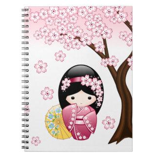 Spring Kokeshi Doll - Cute Japanese Geisha Girl Notebook