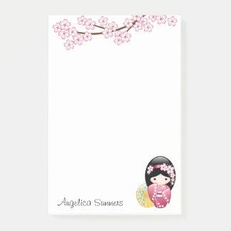 Spring Kokeshi Doll - Cute Japanese Geisha Girl Post-it® Notes
