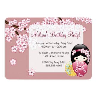 Spring Kokeshi Doll - Cute Japanese Geisha on Pink Card