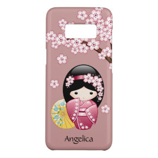 Spring Kokeshi Doll - Cute Japanese Geisha on Pink Case-Mate Samsung Galaxy S8 Case