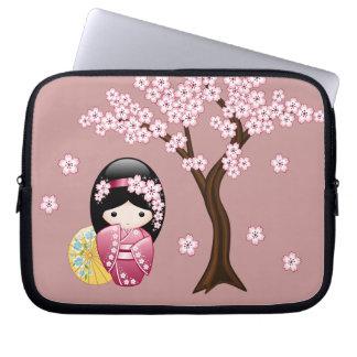 Spring Kokeshi Doll - Cute Japanese Geisha on Pink Laptop Computer Sleeve