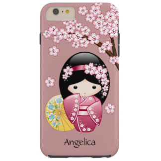 Spring Kokeshi Doll - Cute Japanese Geisha on Pink Tough iPhone 6 Plus Case
