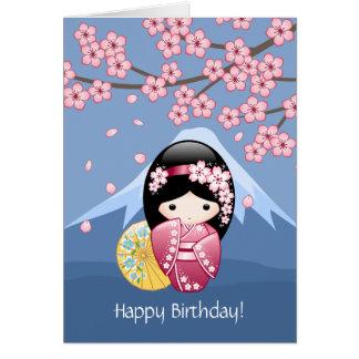 Spring Kokeshi Doll - Japanese Geisha Birthday Card