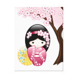 Spring Kokeshi Doll Stretched Canvas Print