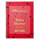 Spring Ladybug Patterns Baby Shower Guestbook Notebook