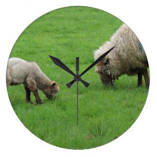 Spring Lamb and Sheep Large Clock
