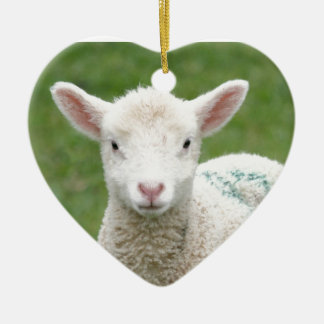 Spring Lambs Ceramic Heart Decoration
