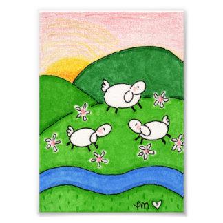 "Spring Lambs Satin 5"" x 7"" Photo Enlargement"