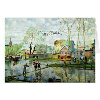 Spring Landscape Painting - Happy Birthday Card