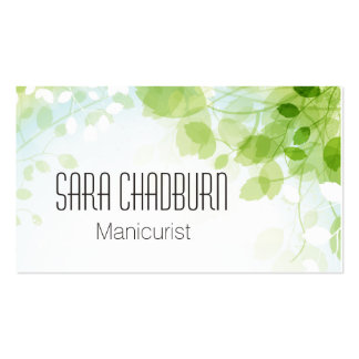 Spring Leaves Watercolor Modern Business Card