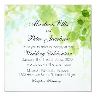 Spring Leaves Watercolor Wedding 13 Cm X 13 Cm Square Invitation Card
