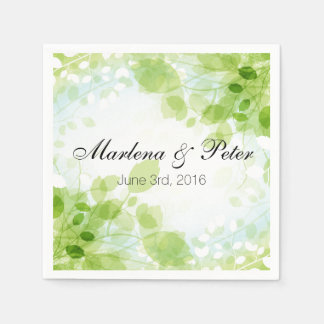 Spring Leaves Watercolor Wedding Collection Disposable Serviette