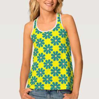 Spring light blue flowers on bright yellow tank top