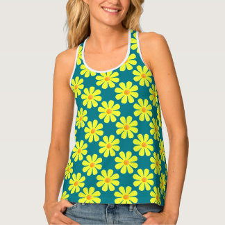 Spring light yellow flowers on dark turquoise tank top