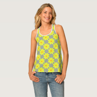 Spring light yellow flowers on grey tank top