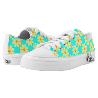 Spring light yellow flowers on light blue printed shoes