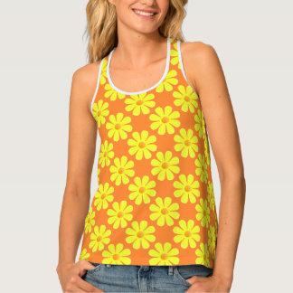 Spring light yellow flowers on light orange tank top
