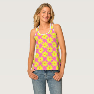 Spring light yellow flowers on light pink tank top