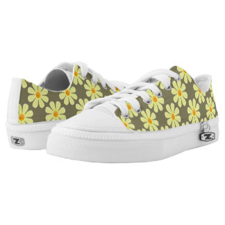 Spring light yellow flowers on taupe color low tops