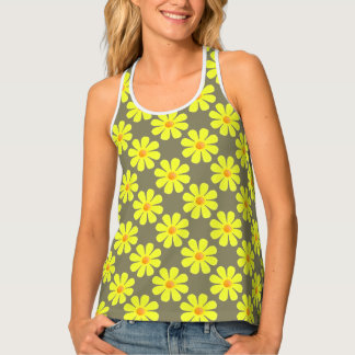 Spring light yellow flowers on taupe tank top
