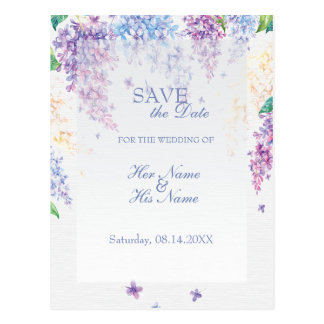 Spring Lilac Flower Floral Wedding SAVE the Date Postcard