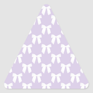 Spring Lilac Pastel With White Bows Triangle Sticker