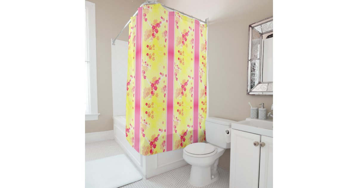Spring Lining Yellow Pink Shower Curtain