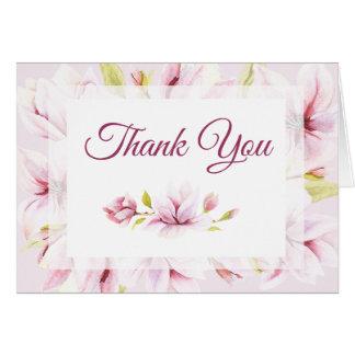 Spring Magnolias Watercolor Floral Thank You Card