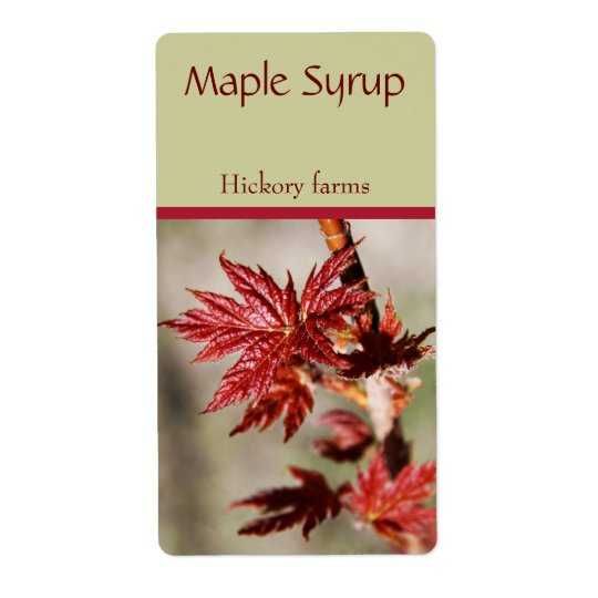 Spring maple leaf maple syrup food label shipping label