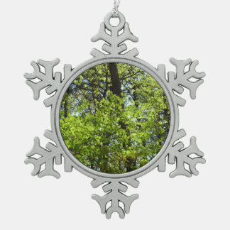 Spring Maple Leaves Green Nature Pewter Snowflake Decoration