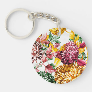 Spring Medley Garden Botanical Floral Double-Sided Round Acrylic Key Ring