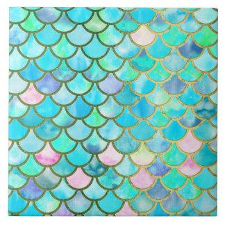 Spring Mermaid Watercolor Scales- Mermaidscales Tile