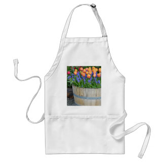 Spring orange tulip planter print standard apron