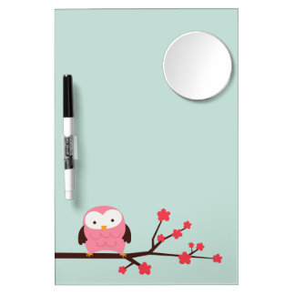 Spring Owl Dry Erase Board With Mirror