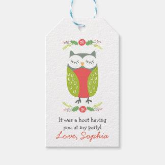 Spring owl favor tag