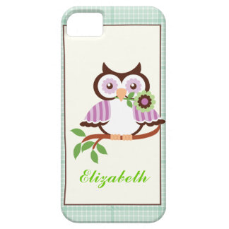 Spring owl, mint green plaid border iPhone iPhone 5 Cases