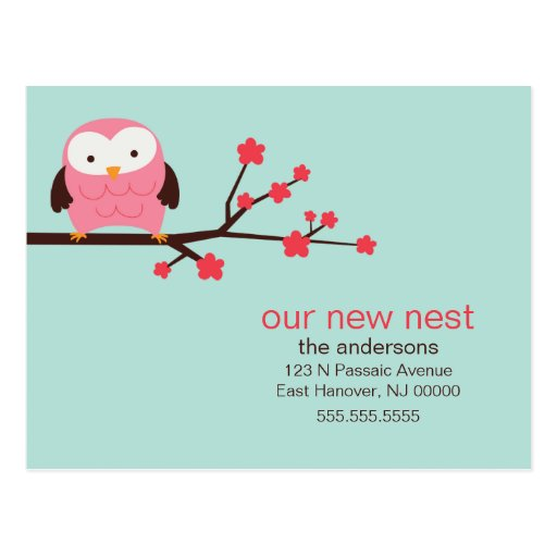 Spring Owl New Address Announcements Postcard