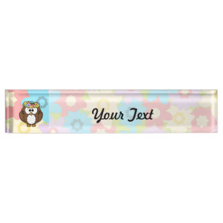 Spring Owl With Flowers Desk Name Plates