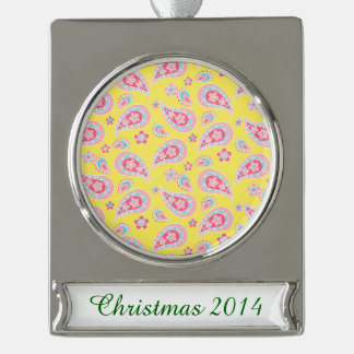 Spring Paisley on Yellow Silver Plated Banner Ornament
