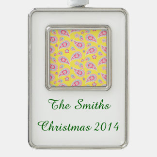 Spring Paisley on Yellow Silver Plated Framed Ornament