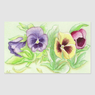 Spring pansy rectangular sticker