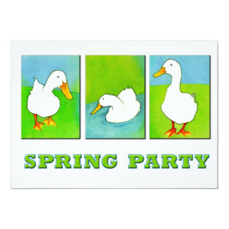 """Spring Party Ducks in a Row 5"""" X 7"""" Invitation Card"""